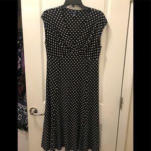 Chaps elegant Black and white Polka Dot Dress